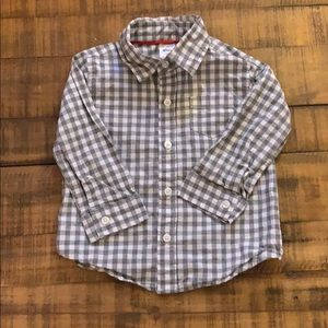 Carter's Gray and White Gingham Button Down